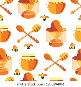 Honey and bees, beekeeper wearing protective suit seamless pattern