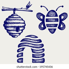 Honey bees and hive. Doodle style