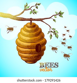 Honey bees and hive on tree branch background vector illustration