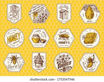 Honey and bees stickers set. Beekeeper man and Honeycombs and hive and apiary. Vintage logo for typography, shop or signboards. Badge for t-shirts. Hand Drawn engrave sketch. Vector illustration.