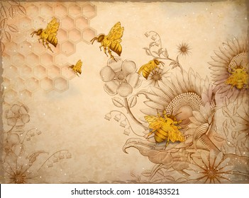 Honey bees and wildflowers, retro hand drawn etching shading style design elements, beige background