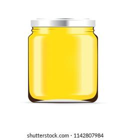 Honey bottle isolated on a white background