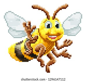 A honey bumble bee 8 bit pixel video game art arcade cartoon character