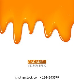 Honey or caramel golden drops. Shiny sticky golden liquid. Vector illustration for your graphic design.