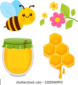 Honey collection with bee, honeycomb, jar of honey and flowers. Vector illustration.