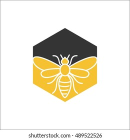 honey comb and bee logo