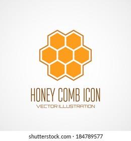 Honey comb icon. Vector illustration