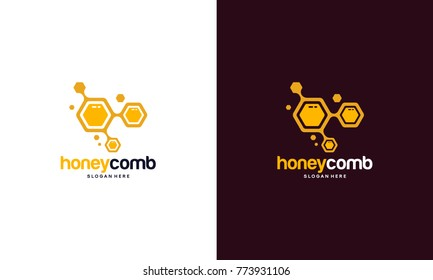 Honey Comb Logo Template Design Vector, Emblem, Honey Design Concept, Creative Symbol,