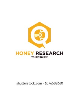 honey comb research logo template design, polygon logo bee hive