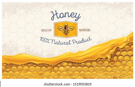 Honey combs with honey, and a symbolic simplified image of a bee as a design element on a textured background.