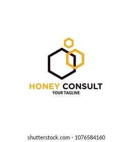 honey consulting logo design template, hexagonal consult logo, polygon logo design