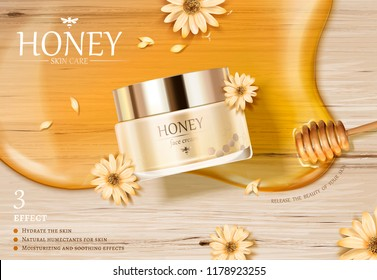 Honey cream jar ads with golden color syrup and dipper on wooden table in 3d illustration, flat lay