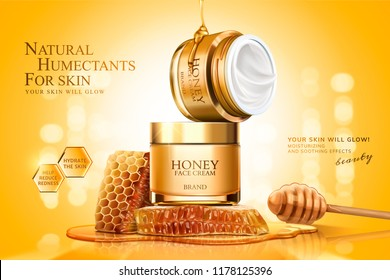 Honey cream jar ads with honeycombs and dipper on golden glittering background, 3d illustration