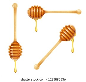 Honey Dipper. Set of Wooden Spoon for liquid sweetness. Realistic wood traditional food utensils. Isolated white background. EPS10 vector illustration.