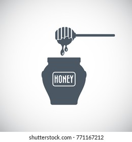 Honey dipper stick with dripping honey and jar icon. Vector illustration.