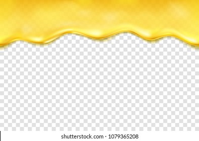 Honey drip seamless pattern isolated on transparent background. Golden oil, caramel, orange sauce drop.   Vector pure gold liquid honey syrup or cream border template for your advertising design.