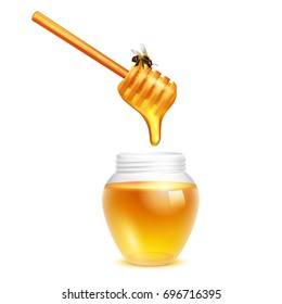 Honey dripping from dipper stick with honeybee in glass jar realistic design concept on white background vector illustration