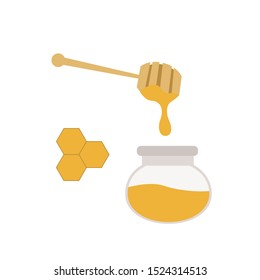 Honey dripping. Vector illustration cartoon flat icon pot of honey, wooden honey stick with yellow drops. Isolated on white
