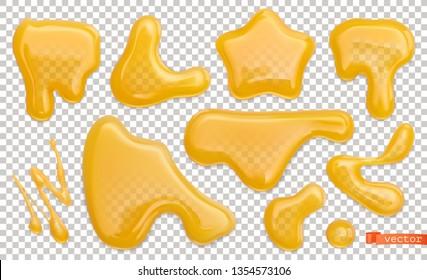 Honey drops. 3d realistic vector set