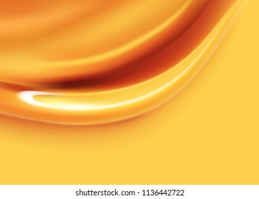 Honey flows. Drops of yellow syrup flow. A natural product in 3d illustration for design uses.Realistic vector liquid caramel background.Dripping honey