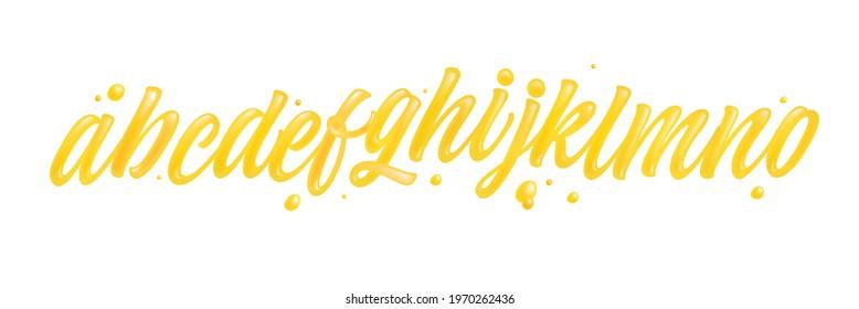 Honey font isolated on white background. Yellow typeface set with letters a, b, c, d, e, f, g, h, i, j, k, l, m, n, o. English liquid and glossy alphabet.