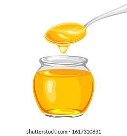 Honey in glass jar and dripping from  spoon isolated on white background. Vector illustration of natural sweets in cartoon flat style.