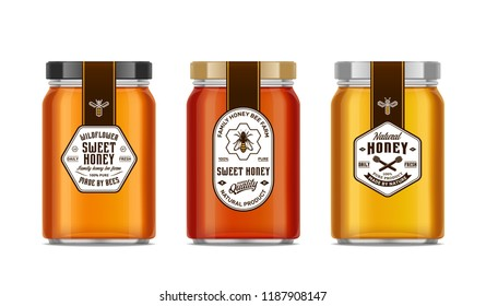 Honey glass jar mockups with labels and bees isolated on white. Honey packaging design concept. Food labels design.