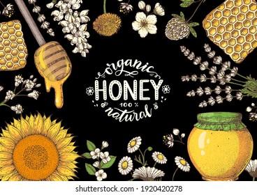 Honey hand drawn vector illustration. Healthy food illustration. Lettering Organic Honey 100% natural. Honeycomb, flowers, jar of honey