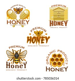Honey icon with natural sweet food of beekeeping farm. Honey bee, honeycomb, wooden beehive and dipper symbol with honey drop and splashes for food packaging label or apiculture themes design