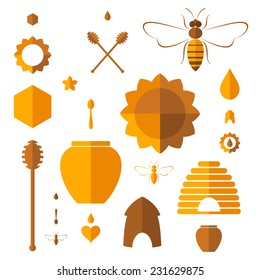 Honey. Icon set. Abstract honey on white background. Vector illustration