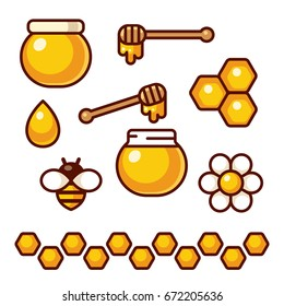 Honey icon set. Bee and flower, honey jar and spoon. Cartoon vector clip art illustration.