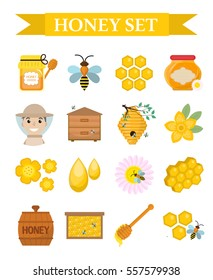 Honey icon set, flat, cartoon style. Beekeeping collection of objects isolated on white background. Apiculture kit of design elements. Vector illustration