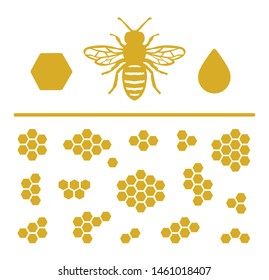 Honey Icon Set with Honeybee and Different Honeycomb Arrangements.
