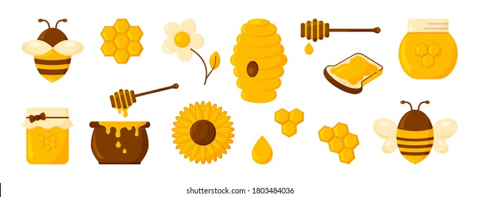 Honey icon set, honeycomb, bee, hive,  hexagon, jar, pot, drop, syrup toast and flowers. Organic food design concept isolated on white background. Vector illustration