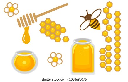 Honey icon set. Round and quart honey jar, bee with flower, honeycomb in different species. Vector Illustration
