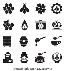 Honey Icons. Black Flat Design. Vector Illustration.