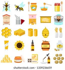 Honey icons set. Flat set of honey vector icons for web design