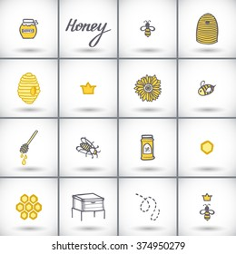 Honey icons set. Hand-drawn cartoon beekeeping collection - hive, bee, queen bee, spoon, jar, calligraphy. Doodle drawing. Vector illustration.