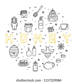 Honey icons set, hand-drawn style, vector illustration