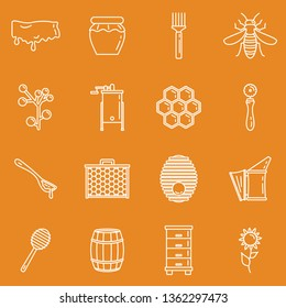 Honey icons, thin line style. Honey apiary outline icons set. Honeycomb and bee, beehive elements for apiary design