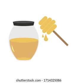Honey inside Jar with Mixer Vector Illustration.