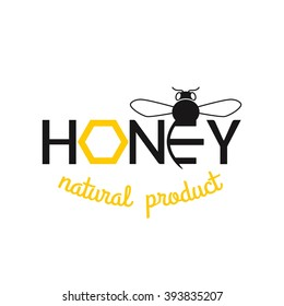 Honey isolated logo. Bee design vector template linear style.