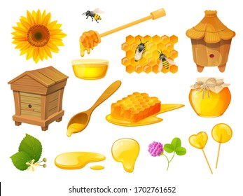 Honey isolated set, beekeeping products, wooden beehive apiary, vector illustration. Honeycomb and beeswax, natural organic sweets, jar of pure nectar. Honeybee, sunflower, wooden spoon, syrup dipper