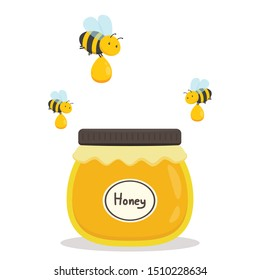 honey jar and bee vector. honey jar on white background.
