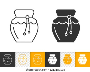 Honey Jar black linear and silhouette icons. Thin line sign of glass pot. Jam outline pictogram isolated on white, color, transparent background. Vector Icon shape. Organic food simple symbol closeup