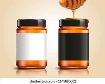 Honey jar with blank labels for design uses in 3d illustration, honey dipper element