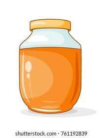 Honey in the jar. A bright colored cardan drawing of honey in a glass jar on a white background. Vector illustration of sweet food