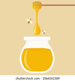 Honey jar cartoon vector. free space for text. wallpaper. background.
