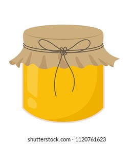 Honey jar cartoon vector. free space for text. wallpaper.