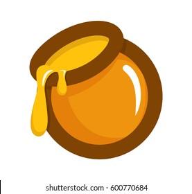Honey Jar Cartoon Vector Illustartion Icon Isolated on white Background